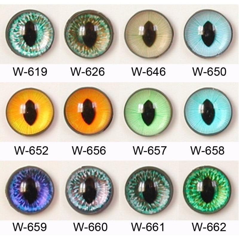 Article W 10mm 10 Pair Premium Plastic Sew On Eyes Oval Pupil Mixed